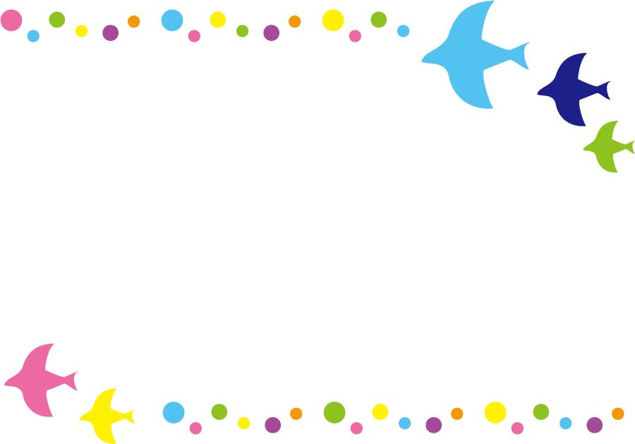 フリーイラスト 鳥と水玉のの飾り枠