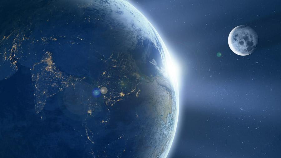 フリーイラスト 地球と月と太陽の光