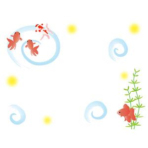 フリーイラスト, ベクター画像, AI, 背景, 動物, 魚類, 魚(サカナ), 金魚(キンギョ), 夏, 渦