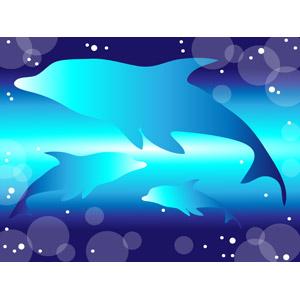 フリーイラスト, ベクター画像, AI, 背景, 動物, 哺乳類, イルカ, 水中, 泡, 青色(ブルー)