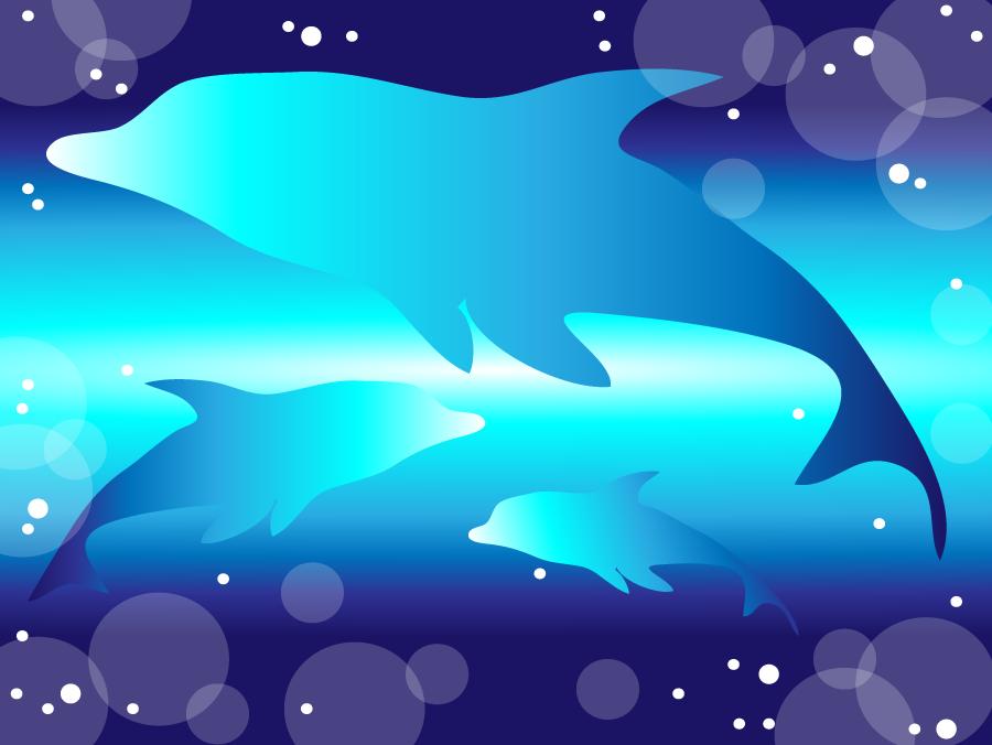 フリーイラスト 海の中のイルカの背景
