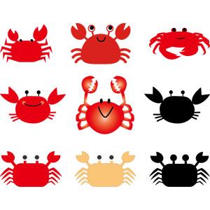 フリーイラスト, ベクター画像, AI, 動物, 甲殻類, 蟹(カニ)