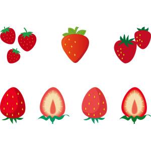 フリーイラスト, ベクター画像, AI, 食べ物(食料), 果物(フルーツ), 苺(イチゴ)