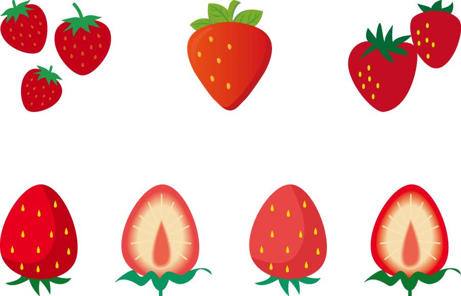 フリーイラスト 7種類のいちごのセット