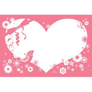 フリーイラスト, ベクター画像, AI, 背景, フレーム, ハートフレーム, ハート, 花柄, 小鳥, ピンク色