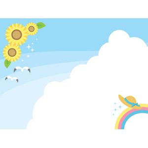 フリーイラスト, ベクター画像, AI, 背景, 空, 雲, 積乱雲(入道雲), 向日葵(ヒマワリ), 虹, 麦わら帽子, 鴎(カモメ), 夏