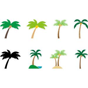 フリーイラスト, ベクター画像, AI, 樹木, 椰子(ヤシ), 南国, 夏, ココナッツ