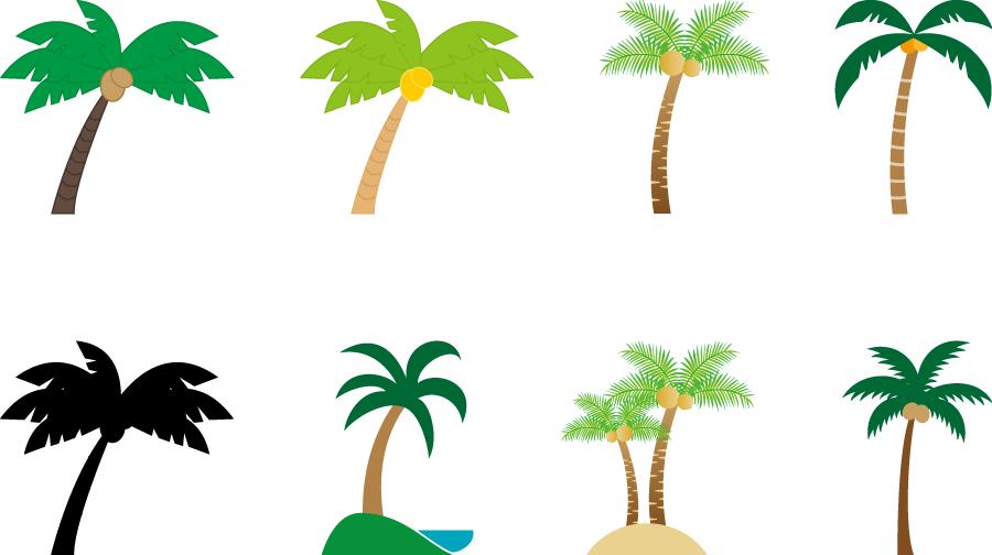 フリーイラスト 8種類のヤシの木のセット