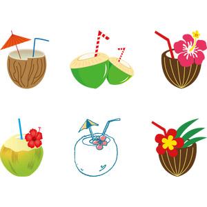 フリーイラスト, ベクター画像, AI, 飲み物(飲料), ジュース, ココナッツジュース, ココナッツ, 南国, 夏