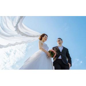 フリー写真, 人物, カップル, 結婚式(ブライダル), 花婿(新郎), 花嫁(新婦), ブーケ, ベール, 二人, ウェディングドレス, 青空