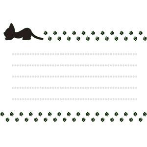 フリーイラスト, ベクター画像, EPS, 背景, メッセージカード, 動物, 哺乳類, 猫(ネコ), 黒猫