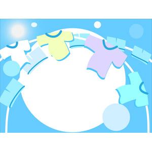フリーイラスト, ベクター画像, EPS, 背景, 洗濯, 洗濯物, 青空, 太陽光(日光)