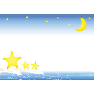 フリーイラスト, ベクター画像, EPS, 背景, フレーム, 上下フレーム, 夜空, 夜, 星(スター), 月, 三日月, 海