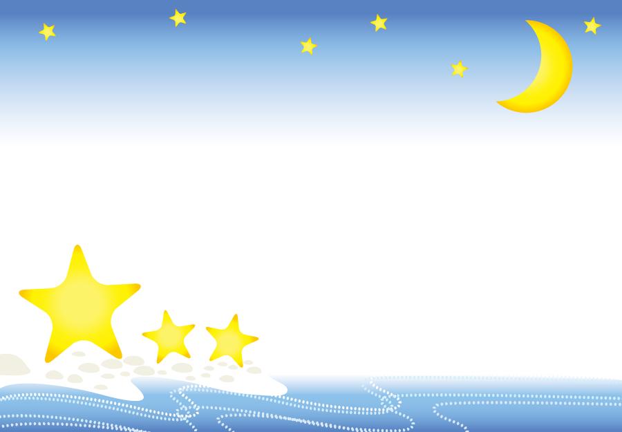 フリーイラスト 月夜と星と浜辺の飾り枠