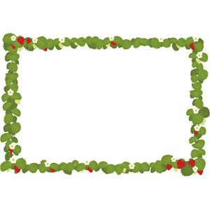 フリーイラスト, ベクター画像, EPS, 背景, フレーム, 囲みフレーム, 作物, 植物, 葉っぱ, 花, 苺(イチゴ), 果物(フルーツ)