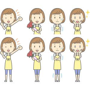 フリーイラスト, ベクター画像, AI, 人物, 女性, 女性(00193), 主婦, 母親(お母さん), エプロン, 応援する, 母の日, 5月, カーネーション, 寒い, 目を輝かせる, 頬に手を当てる, ガッツポーズ