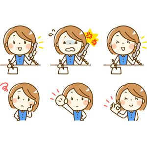 フリーイラスト, 人物, 女性, 女性(00210), 仕事, 職業, ビジネス, OL(オフィスレディ), 事務服, 通話, 固定電話, 書く, 笑う(笑顔), 叱られる, 困る, ガッツポーズ, OKサイン, 頑張る