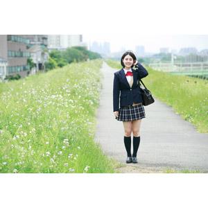 フリー写真, 人物, 少女, アジアの少女, 少女(00212), 学生(生徒), 学生服, 高校生, ブレザー制服, 通学鞄