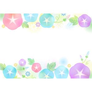 フリーイラスト, ベクター画像, AI, 背景, フレーム, 対角フレーム, 植物, 花, 朝顔(アサガオ), 夏