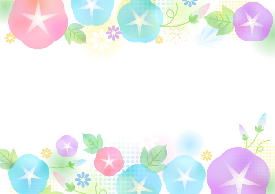 フリーイラスト パステルカラーのあさがおの花のフレーム
