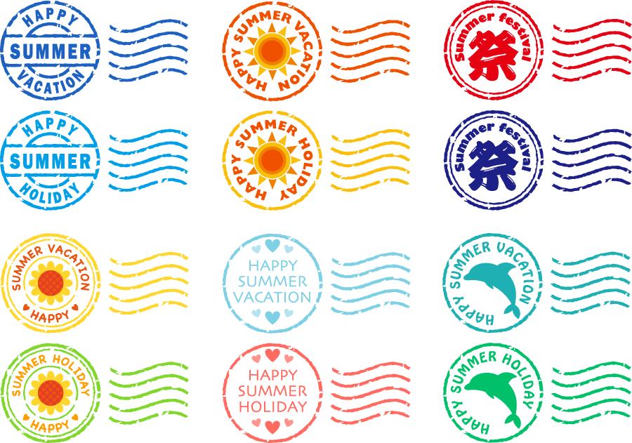 フリーイラスト 12種類の夏の消印のセット