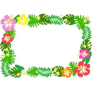 フリーイラスト, ベクター画像, AI, 背景, フレーム, 囲みフレーム, 植物, 花, ハイビスカス, 葉っぱ, 夏, 南国
