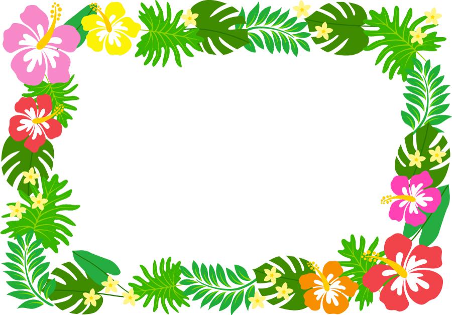 フリーイラスト ハイビスカスと葉っぱの飾り枠