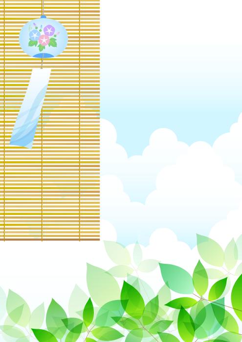 フリーイラスト 簾と風鈴と新緑の葉っぱの夏の風景