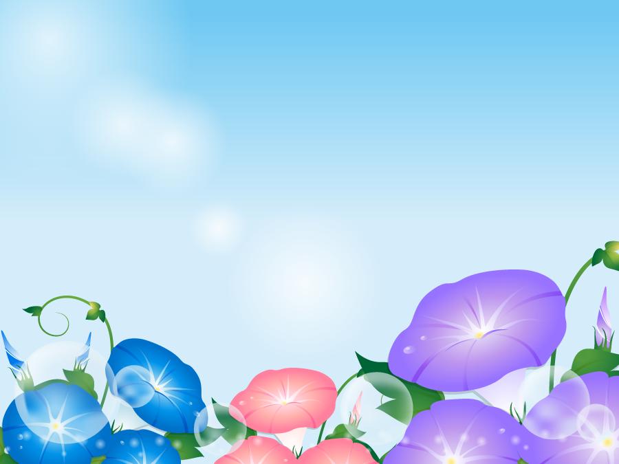 フリーイラスト 三色の紫陽花の花と青空の背景