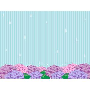 フリーイラスト, ベクター画像, AI, 背景, 梅雨, 6月, 植物, 花, 紫陽花(アジサイ), 雨, 縞模様(ストライプ)