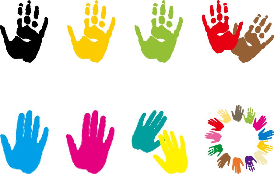フリーイラスト 8種類の手形のセット