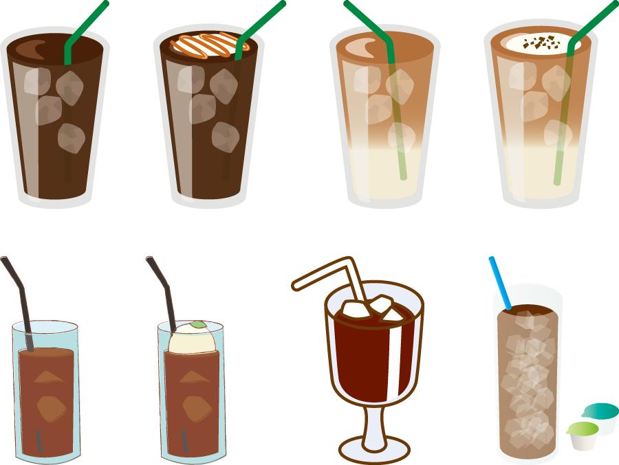 フリーイラスト 8種類のアイスコーヒーのセット
