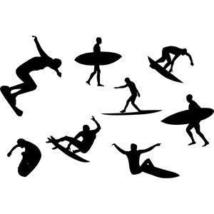 フリーイラスト, ベクター画像, EPS, スポーツ, ウォータースポーツ, サーフィン, サーファー, サーフボード, シルエット(人物)