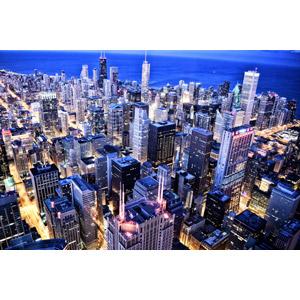 フリー写真, 風景, 建造物, 建築物, 高層ビル, 都市, 街並み(町並み), 日暮れ, アメリカの風景, イリノイ州, シカゴ