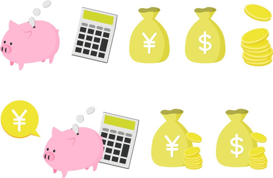 フリーイラスト お金と貯金箱のセット