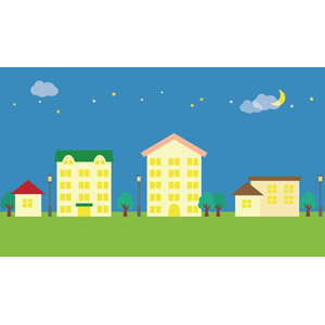 フリーイラスト, ベクター画像, AI, 風景, 建造物, 建築物, 街(町), 街並み(町並み), 夜, 三日月