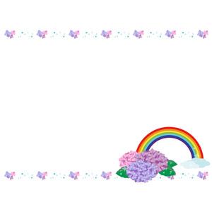 フリーイラスト, ベクター画像, AI, 背景, フレーム, 上下フレーム, 梅雨, 6月, 紫陽花(アジサイ), 虹