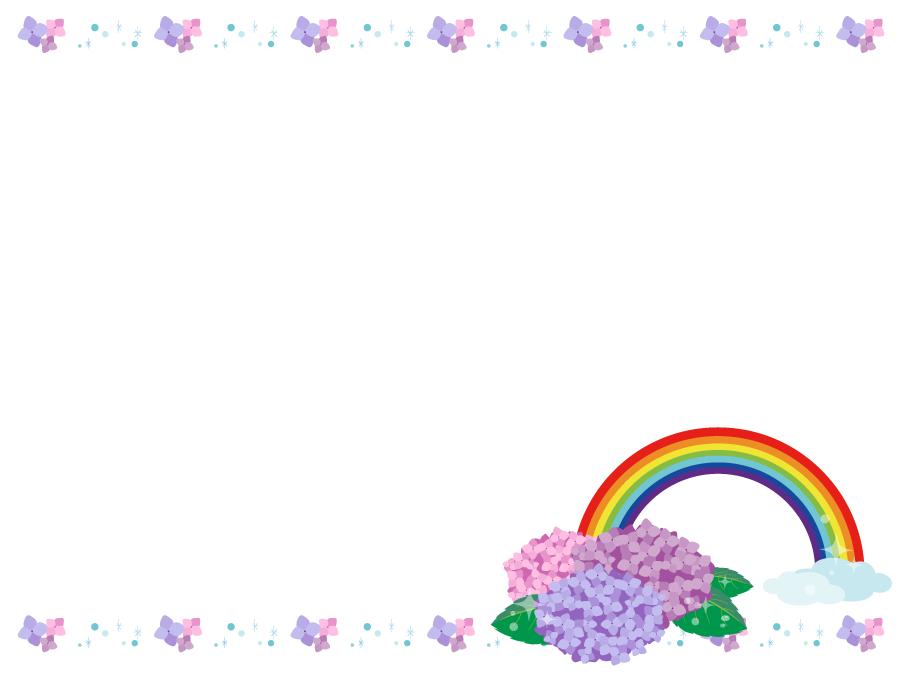 フリーイラスト 紫陽花と雨と虹の飾り枠