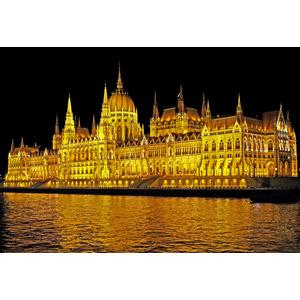 フリー写真, 風景, 建造物, 建築物, 議事堂, ハンガリーの風景, ブダペスト, 河川, ドナウ川, 夜, 夜景