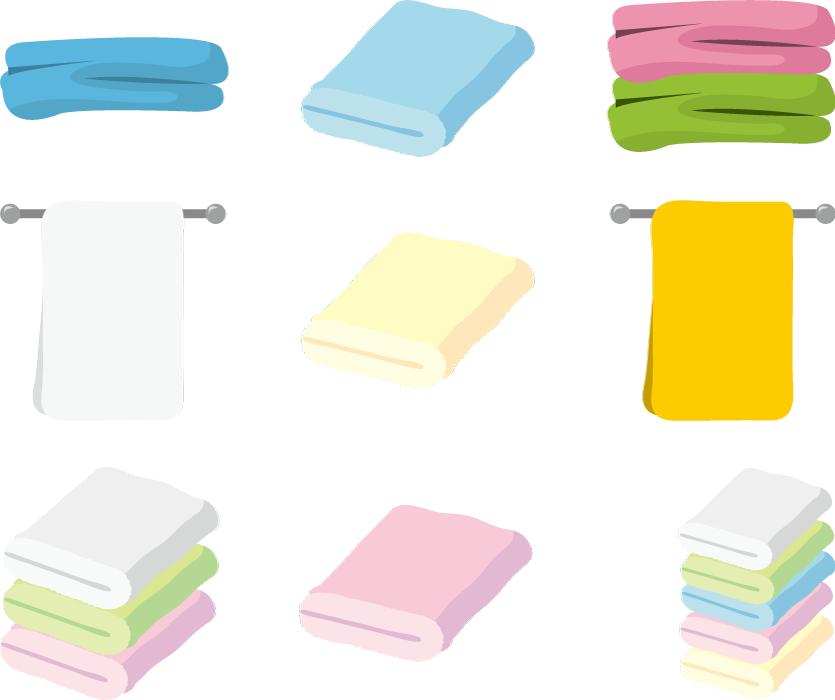 フリーイラスト 9種類のタオルのセット