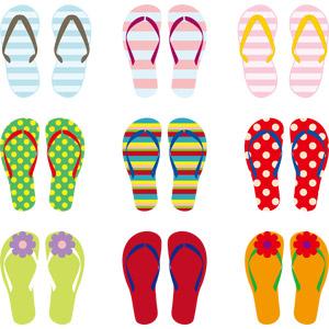 フリーイラスト, ベクター画像, AI, 靴(シューズ), サンダル, ビーチサンダル, 夏