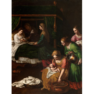 フリー絵画, アレッサンドロ・トゥルキ, 宗教画, キリスト教, 新約聖書, 聖母マリア, アンナ(マリアの母), 赤ちゃん, 母親(お母さん), 出産