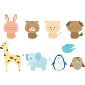 フリーイラスト, ベクター画像, AI, 動物, 哺乳類, 猫(ネコ), 犬(イヌ), 象(ゾウ), キリン, 兎(ウサギ), 熊(クマ), 鳥類, 鳥(トリ), 青い鳥, ペンギン, 猛禽類, 梟(フクロウ)