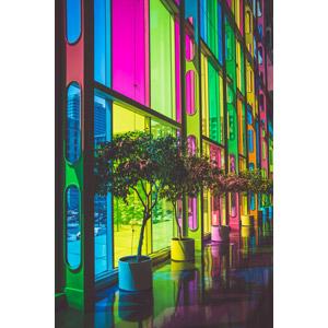 フリー写真, 風景, 建造物, 建築物, コンベンション・センター, ステンドグラス, カラフル, カナダの風景, ケベック州, モントリオール, 観葉植物