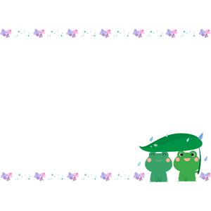 フリーイラスト, ベクター画像, AI, 背景, フレーム, 上下フレーム, 梅雨, 6月, 紫陽花(アジサイ), 蛙(カエル)