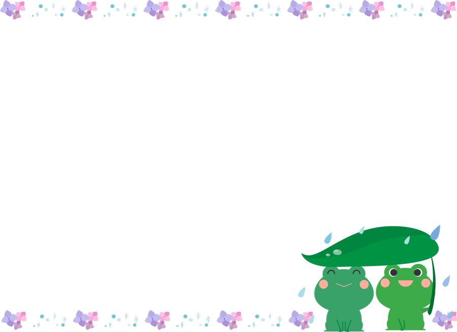 フリーイラスト カエルとアジサイの梅雨の飾り枠