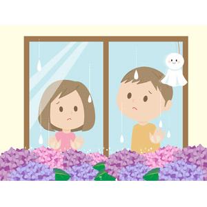 フリーイラスト, ベクター画像, AI, 人物, 子供, 男の子, 女の子, 兄妹(姉弟), 窓辺, 梅雨, 6月, 花, 紫陽花(アジサイ), てるてる坊主, 雨