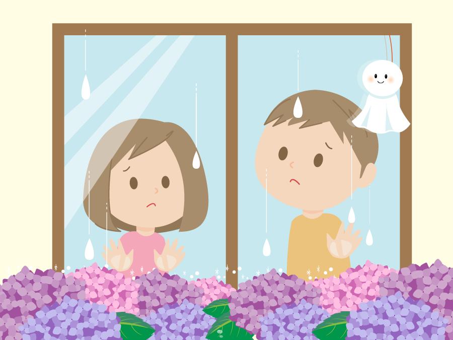 フリーイラスト 雨が止むのを待っている男の子と女の子