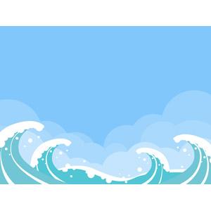 フリーイラスト, ベクター画像, AI, 風景, 自然, 海, 波, 波しぶき, 青空