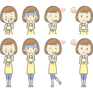 フリーイラスト, ベクター画像, AI, 人物, 女性, 女性(00193), 主婦, 母親(お母さん), エプロン, 泣く(泣き顔), 青ざめる, 頬に手を当てる, 冷や汗をかく, ハート, 分からない, 首を傾げる, 恋する